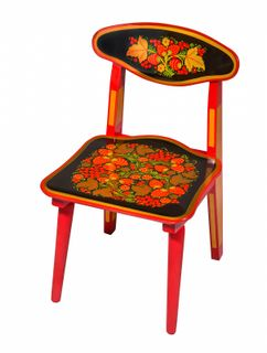 "Khokhloma painting / Children's folding wooden chair ""Khokhloma painting"", 1 height category"