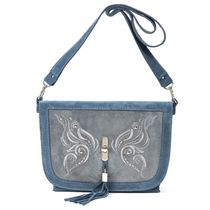 Suede bag 'swallowtail' grey with gold embroidery