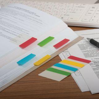 Bookmarks highlighters sheets of adhesive plastic BRAUBERG, 38х51 mm, 4 colors x 6 sheets