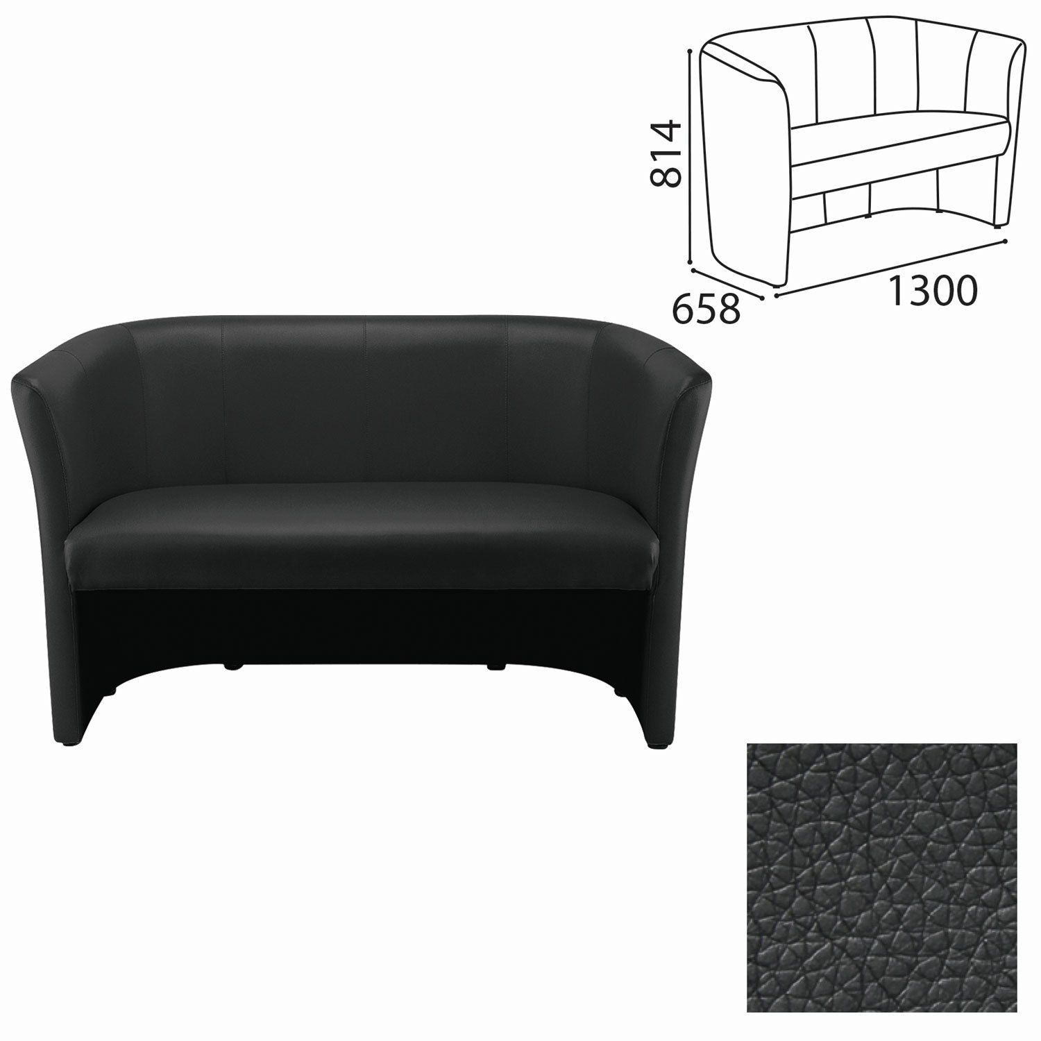 """NOWY STYL / Double sofa """"Club Duo"""", 814х1300х658 mm, with armrests, leatherette, black"""