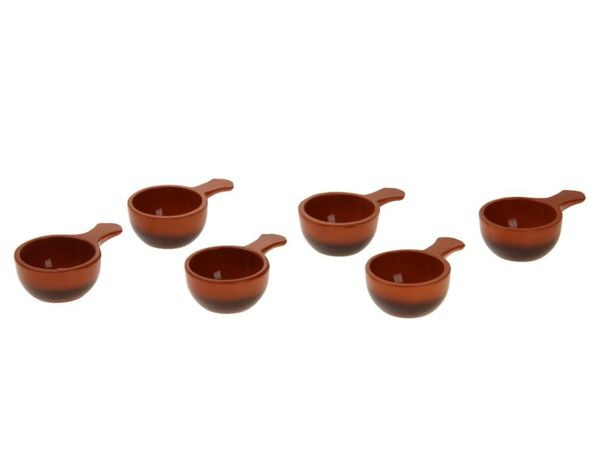 Vyatka ceramics / Set of 6 cocottes, with a capacity of 0.1 l. (chocolate)