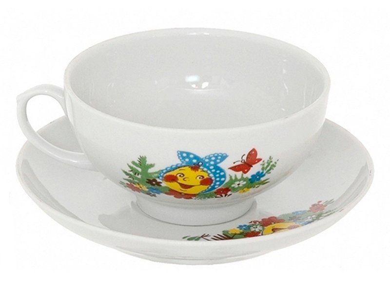 Dulevo porcelain / Set of tea cup with saucer, 12 pcs., 220 ml Ruby Vesely Kolobok
