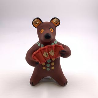 Clay toy Bear with an accordion, Dymkovo toy, 6 x 10 x 5