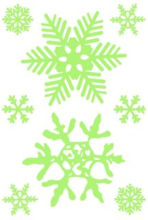 Snowflakes on the windows and windows. Set of New Year's stickers