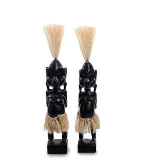 """Wooden statuette """"Asmat black"""" 20 cm"""