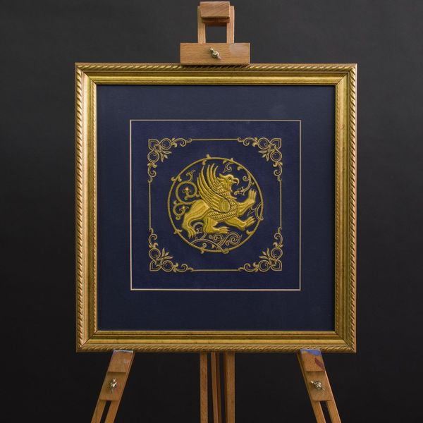 Panels of hand-embroidered 'Griffin' blue with gold embroidery
