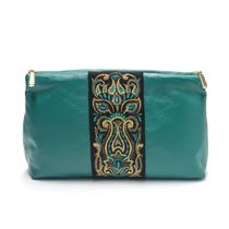 Leather cosmetic bag 'Rainbow mood' green with gold embroidery