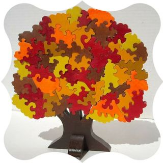 Bright colorful wooden puzzles
