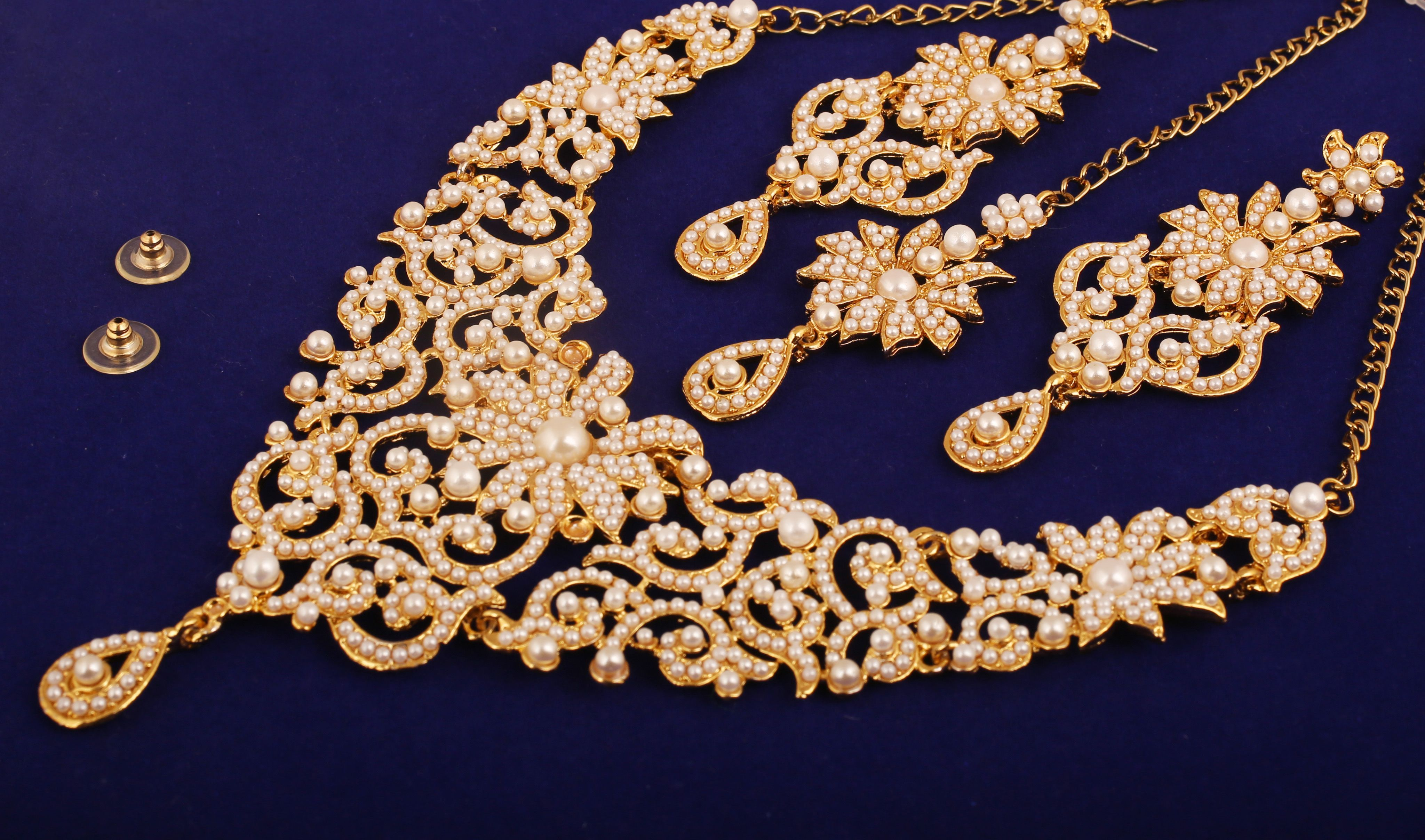 Touchstone Indian Bollywood Traditional Royal Look Fine Filigree Carving Faux Pearls Grand Bridal Designer Jewelry Necklace Set For Women In Antique Gold Tone Buy Global Trade Rus