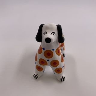 Clay toy Dog, Dymkovo toy, 4 x 7 x 7