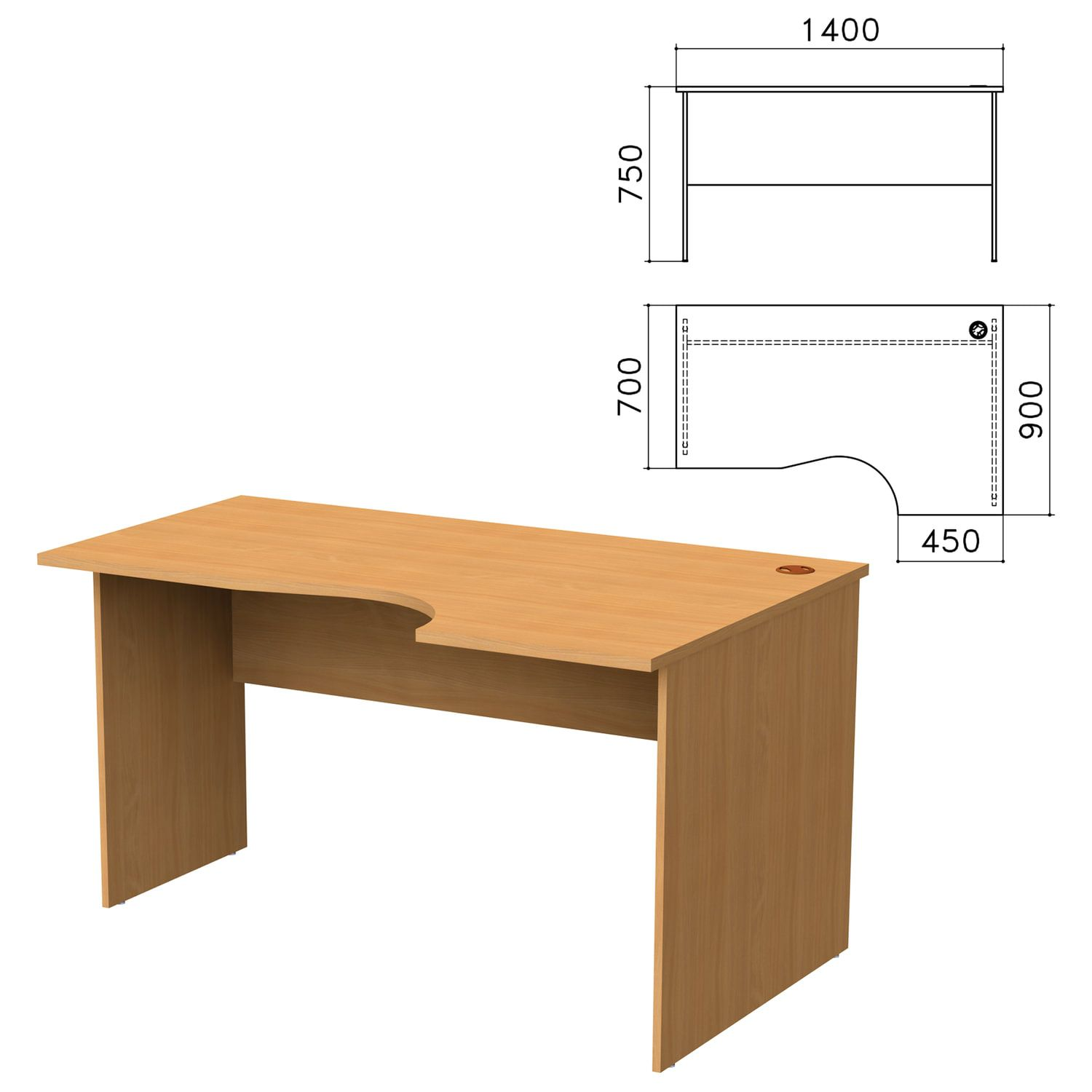 "Table written ergonomic ""Monolith,"" 1400 x900s750 mm, right, color beech Bavaria"