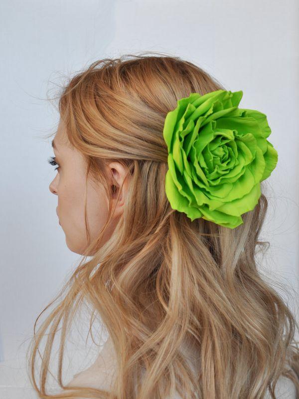 Brooch hairpin rose yellow green