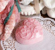Pink crochet heart - handmade soap
