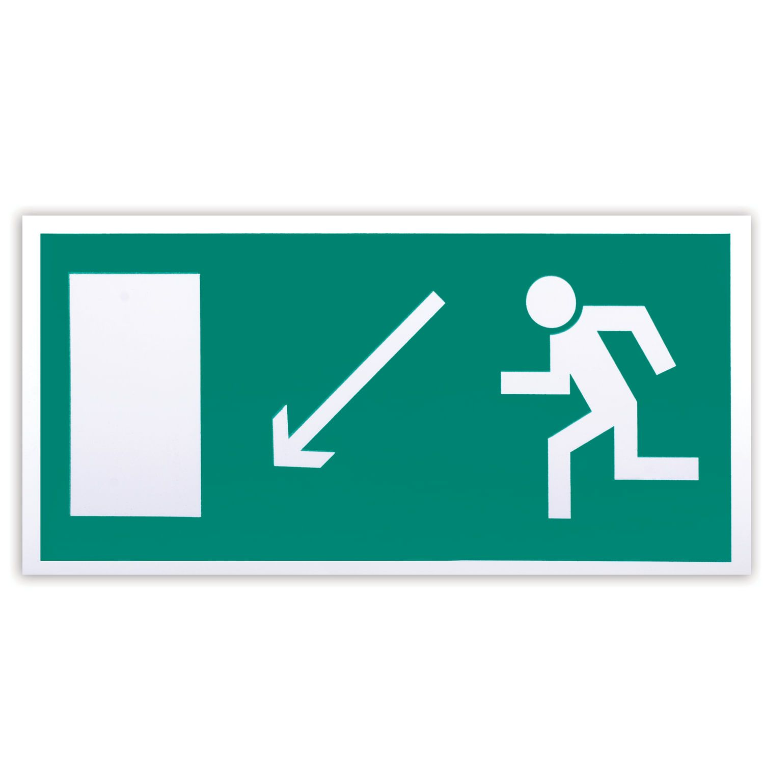 """Evacuation sign """"Direction to the evacuation exit to the left downwards"""", 300x150 mm, self-adhesive, photoluminescent"""