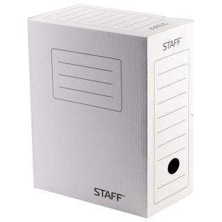 Archival box with flap A4 (260х325 mm) 150 mm up to 1400 sheets, micro corrugated Board, WHITE, STAFF