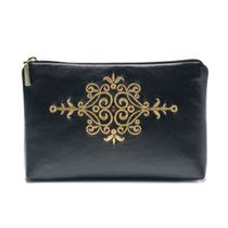 Leather cosmetic bag 'Asia' in black with gold embroidery