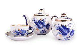 Dulevo porcelain / Tea set 14 pcs. Amber Tulip Gold