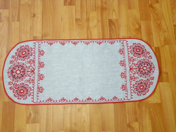 Track linen Oval Karelian patterns 85х37 cm