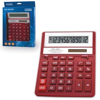 Desktop calculator CITIZEN SDC-888ХRD (203х158 mm), 12 digits, dual power supply, RED
