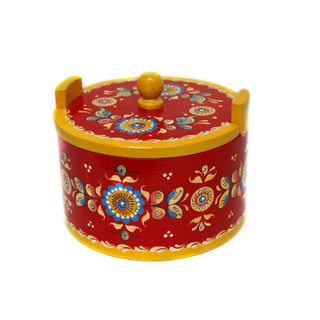 """The little box """"Shenkurskiy red-painted"""" round 11 cm"""