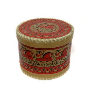 "Wooden box with lid ""Mezenskaya painting"" round 15 cm"