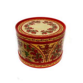 "Wooden box with lid ""Boretskaya painting"" round 21 cm"