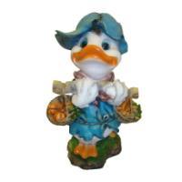"Remeko / Ornamental garden figure ""Duck with pumpkins in a basket"" L34W26H56 cm"