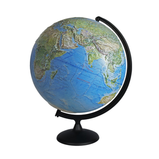 Landscape relief globe 420 mm on a plastic arc