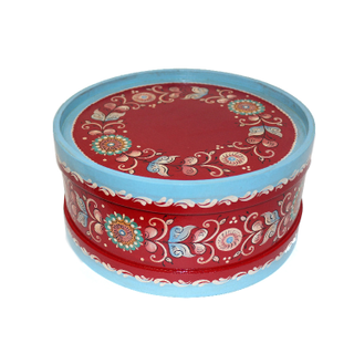 """Wooden box with lid """"Shenkurskiy red-painted"""" round 12.5 cm"""