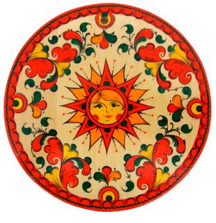 """Board kitchen wooden round """"Pyermogori painting. Sun"""""""