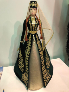 Collectible doll Ossetian in a green velvet dress, embroidery Zolota, Asik, 55 cm
