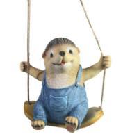 "Remeko / Decorative figure ""Hedgehog on a swing"" L14W21H19"