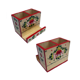 """Pencil holder wood """"Onega painting"""" 3 compartment"""