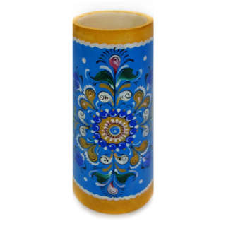 "Pencil holder wood ""Shenkurskiy painted on a blue background"""