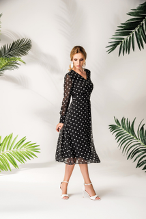 Dress chiffon black white polka dots