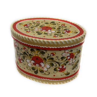 "Wooden box with lid ""Onega painting"" oval 15 cm"
