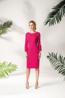 Dress with scalloped fuchsia