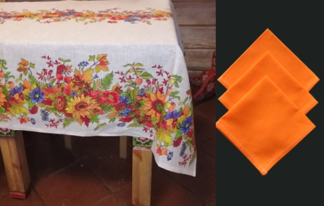 "Gift workshop / Matting tablecloth ""Flowers"" with napkins"
