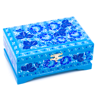 """Wooden box """"Traditional Hohloma. Blue"""" with flat lid 140х90"""