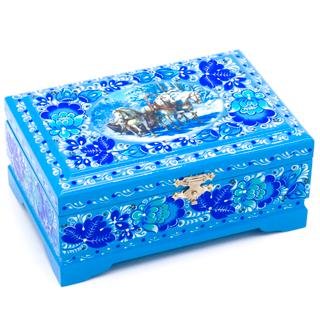 "Wooden box ""Three horses"" with flat lid 140х90"