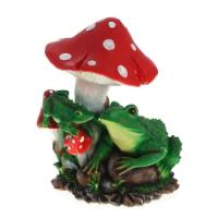"Remeko / Decorative item Two frogs under a mushroom "", H37 cm"