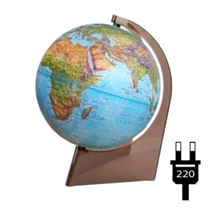 """Earth Globe """"Double Map"""" embossed with illumination on a triangle"""