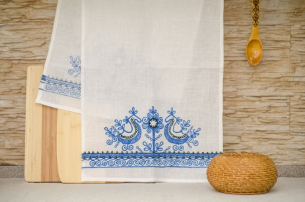 Towel Doves blue embroidery 45*145cm