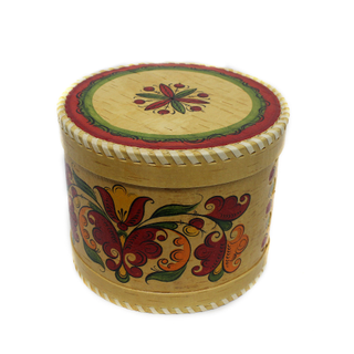 "Wooden box with lid ""Boretskaya painting"" round 15 cm"