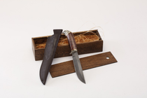 "Knife ""Golden eagle"" from damask steel, art casting cupronickel, a handle from the Karelian birch, in a gift box"