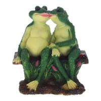 "Remeko / Decorative item ""Frogs on a bench"", L30W21H31 cm"