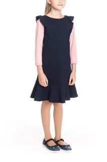 School sundress with short sleeves dark blue