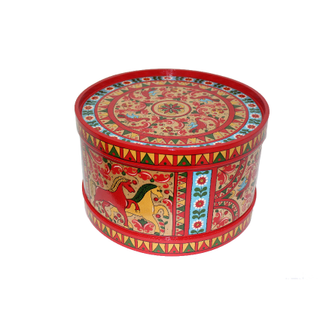 """Box wooden with a lid """"Boretskaya List"""" round red with horses 17.5 cm"""