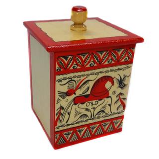 "The little box ""Mezenskaya painting. One horse"" square 13 cm"
