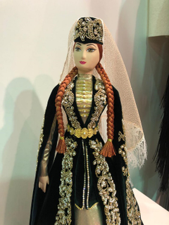 Collectible doll Ossetian in emerald velvet dress, bead embroidery, Asik, 55 cm